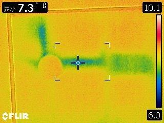 写真:雨漏り原因箇所の赤外線写真