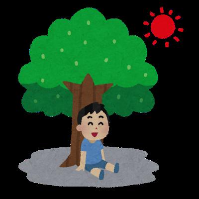 木陰で涼む人