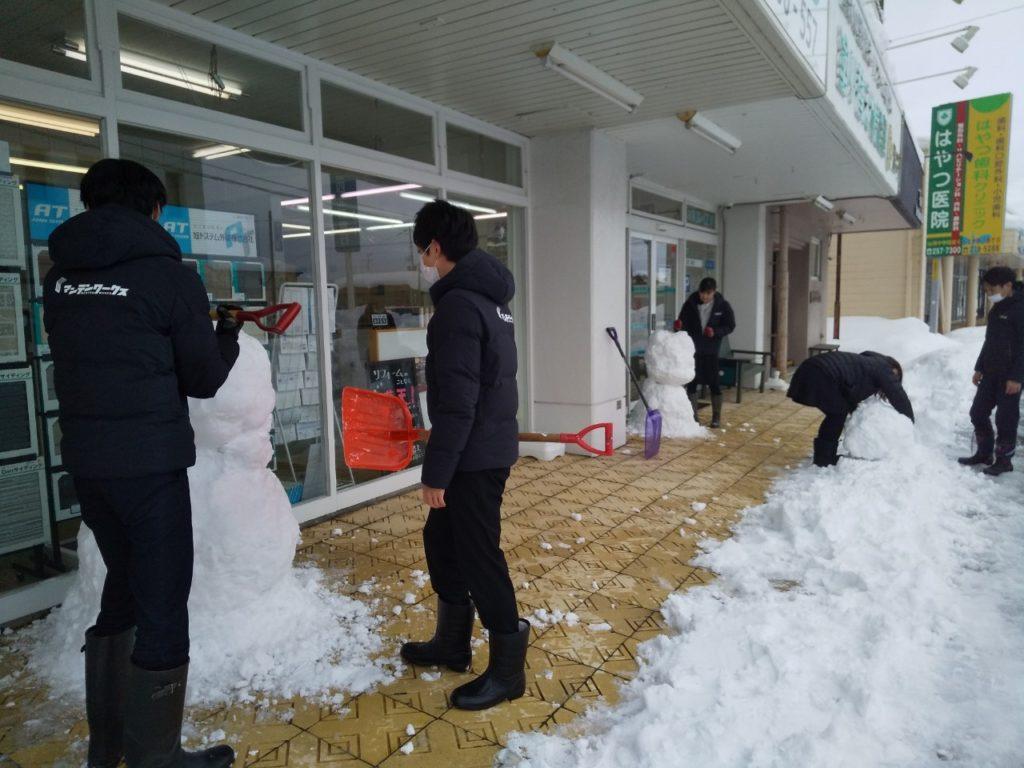 雪だるま作成中の画像